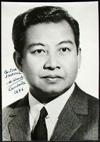 s1708) Norodom Sihanouk Cambodscha autograph 1971 on photo