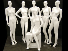 Glossy White Full Body Adult Female Abstract Fiberglass Fashion Mannequin Group