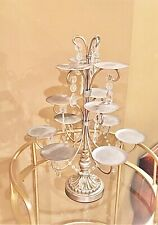 Elegant Display Stand Crystals 12 CUPCAKE Candle Plant Party Wedding Chandelier