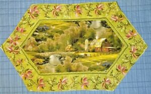 Handmade Quilted Beautiful Table Runner Topper Mat Stitched 24 (14) x 15
