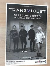 Transviolet live concert memorabilia - Glasgow may 2016 tour concert gig poster