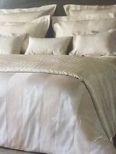 Yves Delorme MUST HAVE ECRU SATIN  STRIPE Duvet Cover Set KING