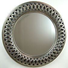 Venice Very Large Round Wall Mirror Champagne Silver Frame Art Deco 112cm / 44""