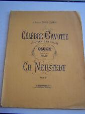 LIVRE ANCIEN ,VIEUX PAPIERS , PARTITION  PIANO , CELEBRE GAVOTTE D ' IPHIGENIE .