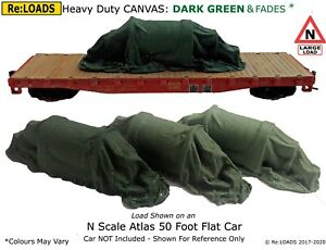 DARK GREEN Tarped Covered Sheeted Model Railway Loads, Large N, Smaller HO / OO