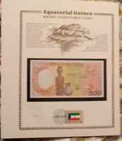 Equatorial Guinea Banknote 500 Francs 1985  P 20 UNC  w/FDI UN FLAG Serie E.01