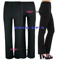 LADIES WOMENS 2 PAIR PACK RIBBED BOOTLEG TROUSERS IN BLACK /& NAVY SIZES UK8-26.