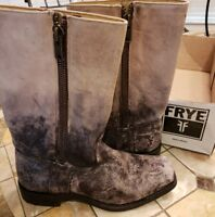 Frye Heath Outside Zip Stone Washed Leather cycle Boots #76286 Women 9 msrp $348