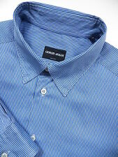 GIORGIO ARMANI MENS 16 LARGE 34.5 LUXURY DRESS SHIRT BLUE STRIPE MADE IN ITALY