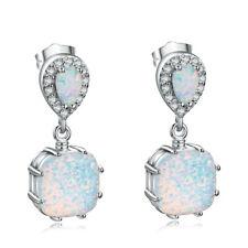 Women Ladies Elegant White Artificial Opal Silver Dangle Hook Earrings Jewelry