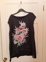 M&Co Womens Blouse Top Size 22 Black Pink Mix Sleeveless Floral