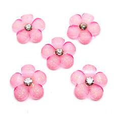 (5pcs) 12mm Pink Crystal Rhinestones Flower Flatback Resin Scrapbooking