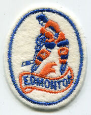 "1970'S EDMONTON OILERS NHL HOCKEY WHA MINORS VINTAGE 2.5"" OVAL TEAM PATCH"