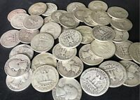LOT OF (10) 90% Silver FULL DATE Washington Quarters 1932-1964 / Old Coins Lot
