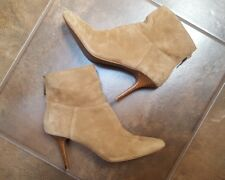 Audrey Brooke Brown Leather Ankle Boots Size 10 Stiletto Heels Zip