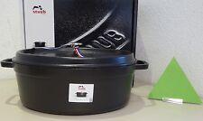 Staub Cocotte ovale 37 cm noir Convient à l'induction Fonte Rôtissoire,
