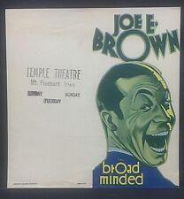 1931 movie herald:....BROAD MINDED,,,w/ Joe E Brown, Ona Munson and Bela Lugosi