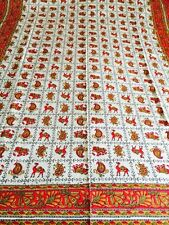 INDIAN 100% COTTON  RED CAMEL/ELEPHANT PRINT BEDSPREAD / THROW  SINGLE SIZE