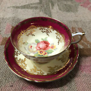 PARAGON TEA CUP AND SAUCER RED LARGE CABBAGE ROSE
