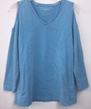 Soft Surroundings Morgan Cold Shoulder French Terry Pullover Tunic Top 27313 M