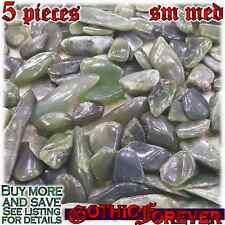 5 Sm Med 15mm Free Ship Tumbled Gem Stone Crystal Natural - Jade Nephrite Mix