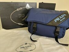 New Prada Nylon Blue Technical Bag Shoulder Crossbag Mens Messenger 1BL015