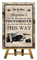 Vintage Chic Photo Booth Pointing Right Personalised Wedding Sign / Poster