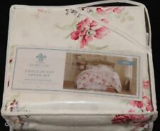 Simply Shabby Chic Pink Floral Duvet Cover Set KING new 3 pc #0386