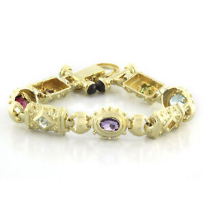 Estate Multi Colored Gemstone Statement Bracelet 14K Yellow Gold Ladies 6.5""