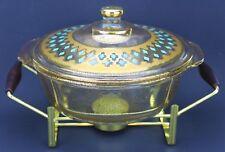 Culver Ltd Fire King Seville Rare Casserole Chafing Dish 22K Gold MCM 2 Qt (134)