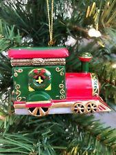 Hinged Trinket Box Ornament Porcelain Christmas Gift Hand Painted Train Trinket