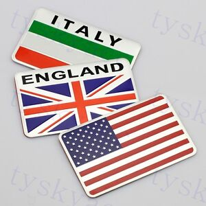 Car 3D Badge Emblem Symbol Decal Sticker USA US Italy England Country Flag Trim