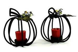 PAIR OF Wrought Iron Pumpkin Tealight Thanksgiving Candle Holder Candle Included