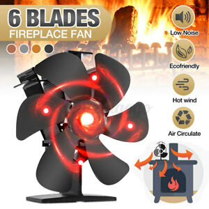 1450rpm 6 Blades Heat Powered Heated Fireplace Stove Fan Silent Wood Log Heating