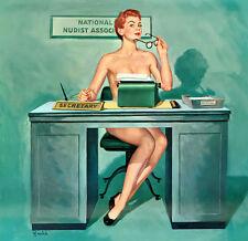 "Vintage Pin Up  Secretary Art 12 x 12""  Photo Print"