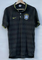 Vintage Nike CBF Brazil Soccer Team Polo Shirt Black Dots Short Sleeve | Men's M