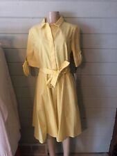 Calvin Klein Yellow 100% Cotton belted sheath Flare Button dress NWT $119 Sz 8