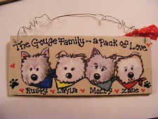 DOG THEMED FAMILY NAME SIGN.....PERSONALIZED -GREAT GIFT! /2-6 PEOPLE...  3X7""