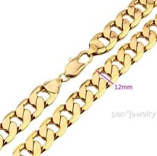 "24k Yellow Gold Filled Mens Necklace 24"" Curb Chain 103g GF Jewelry 12mm"