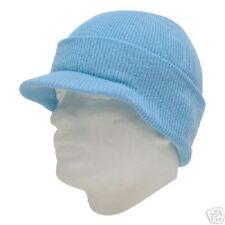 LIGHT BLUE VISOR BEANIE KNIT JEEP CAP SKULL SKI CAPS