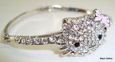 Hello Kitty Rhinestone  Bracelet Bangle Silver Bling Bling Charms Charm New