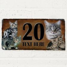 Personalised Grey Tabby Cat Door House Slate Sign Name Number Plaque