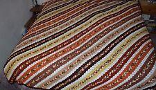 VTG Afghan Hand Crocheted Afghan Blanket Bedspread Diagonal Striped 80 X 89