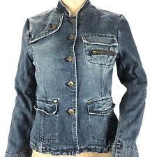 Womens Mossimo Denim Jacket Button Front Blue Jean Denim Coat 4 Pockets Sz Small
