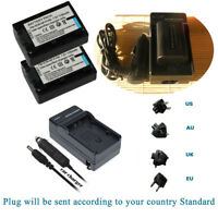 2x Battery for Sony NP-FV30 NP-FV40 NP-FV50  DCR-SR300 Camcorder +Charger