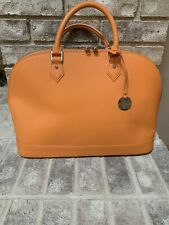PULICATI Orange Bugatti Saffiano Italian Leather Satchel Shoulder Bag Purse