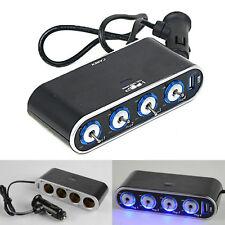 4 Way Car Charger Cigarette Lighter Socket USB Port Splitter 12V Power Adapter
