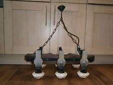 Gothic Ceiling Light, 6 Candle, Rustic French Farmhouse, Iron, Wood Bar old