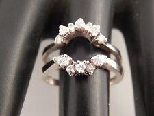 14k WG G/SI Diamond Engagement Wrap Setting .56 tcw Holds Round Stone Ring Guard