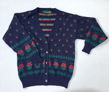 Vintage 80s 90s Navy Blue Red Floral V Neck Cardigan 12 14 M Xmas